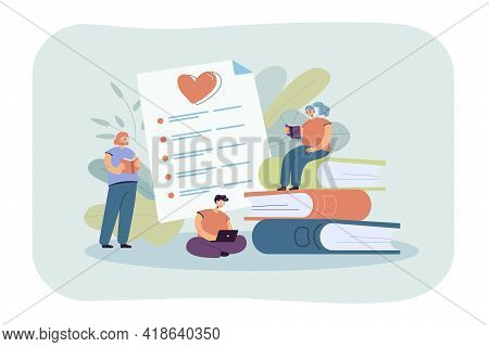 Happy Book Readers Ranking Books Flat Vector Illustration. Cartoon Characters Reading Textbooks And