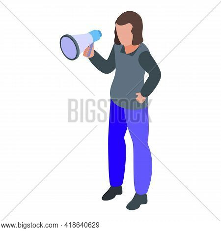 Disobedient Protest Girl Icon. Isometric Of Disobedient Protest Girl Vector Icon For Web Design Isol