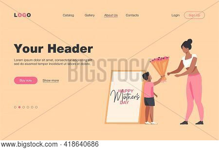 Little Son Giving Flowers To Young Mother. Gift, Parent, Child Flat Vector Illustration. Holiday, Pa