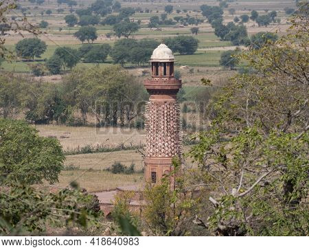 Unusual Tower, The Hiran Minar, At Fatephur Sikri Near Agra- Decorated With Stone Elephant Tusks