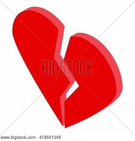 Dislike Heart Icon. Isometric Of Dislike Heart Vector Icon For Web Design Isolated On White Backgrou