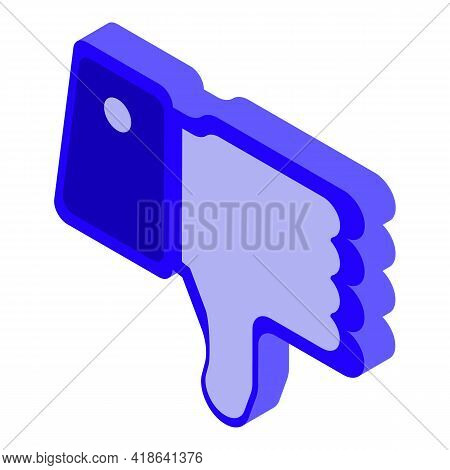 Dislike Thumb Down Icon. Isometric Of Dislike Thumb Down Vector Icon For Web Design Isolated On Whit