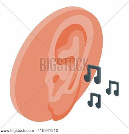 Hearing Music Icon. Isometric Of Hearing Music Vector Icon For Web Design Isolated On White Backgrou