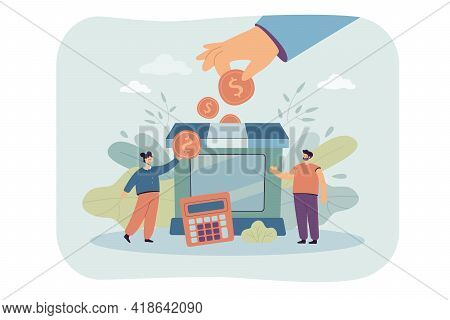 Tiny Partners Giving Subsidy Assistance To Business Flat Vector Illustration. Cartoon Metaphor Of Su