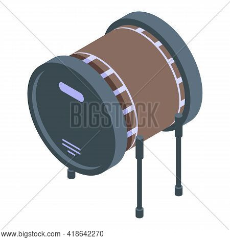 Bass Drum Icon. Isometric Of Bass Drum Vector Icon For Web Design Isolated On White Background
