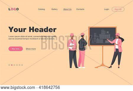 Female Engineer Standing Near Chalkboard Explaining Project. Draft, Building, Worker Flat Vector Ill