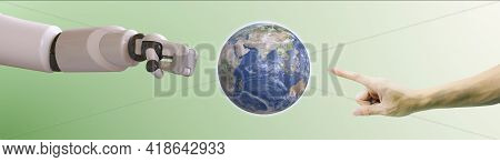 Planet Earth Globe Ball And Human Hand On Green Gradient Background. Saving Environment, Save Clean