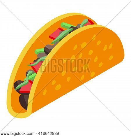 Vegan Tacos Icon. Isometric Of Vegan Tacos Vector Icon For Web Design Isolated On White Background