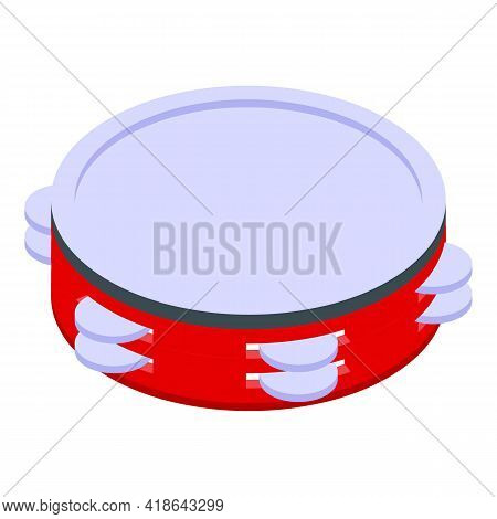 Feast Tambourine Icon. Isometric Of Feast Tambourine Vector Icon For Web Design Isolated On White Ba