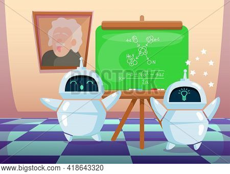Cute Cartoon Chatbot Making New Scientific Discovery. Flat Vector Illustration. Modern Bots Working