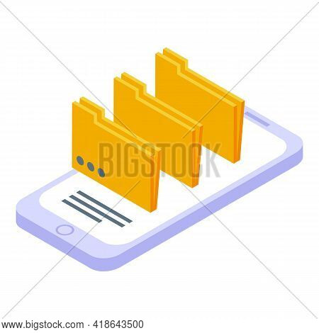 Electronic Folders Icon. Isometric Of Electronic Folders Vector Icon For Web Design Isolated On Whit