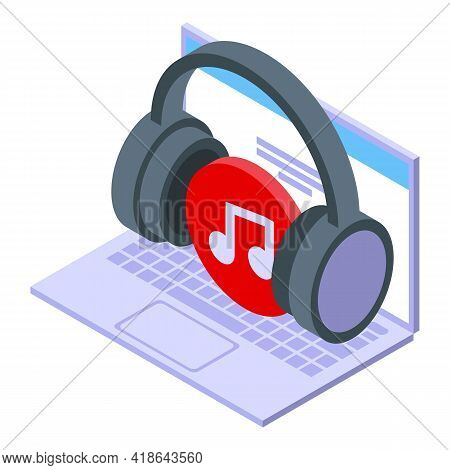 Digital Music Store Icon. Isometric Of Digital Music Store Vector Icon For Web Design Isolated On Wh
