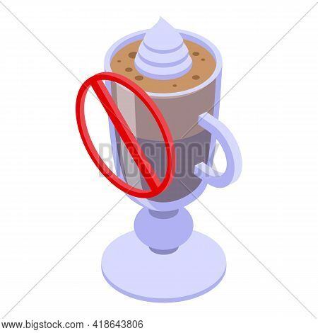 Decaffeinated Latte Glass Icon. Isometric Of Decaffeinated Latte Glass Vector Icon For Web Design Is