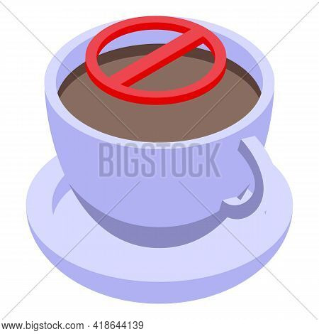 Decaffeinated Coffee Ceramic Cup Icon. Isometric Of Decaffeinated Coffee Ceramic Cup Vector Icon For