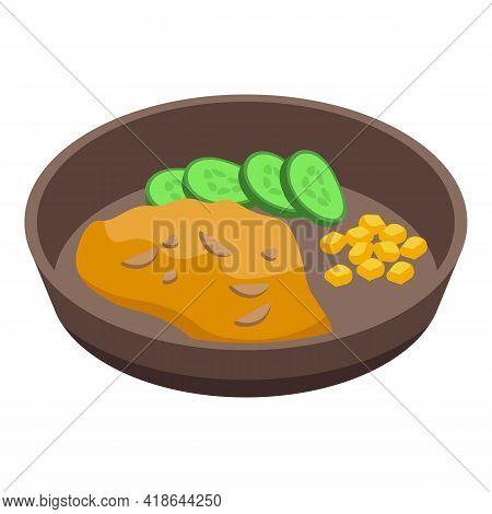 Mashed Potatoes Fried Icon. Isometric Of Mashed Potatoes Fried Vector Icon For Web Design Isolated O