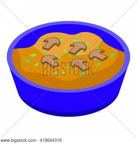 Mashed Potatoes Mushrooms Icon. Isometric Of Mashed Potatoes Mushrooms Vector Icon For Web Design Is
