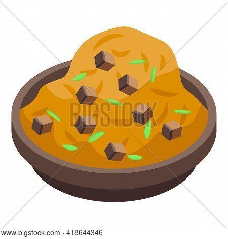 Mashed Potatoes Cooked Icon. Isometric Of Mashed Potatoes Cooked Vector Icon For Web Design Isolated