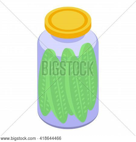 Pickled Cucumber Icon. Isometric Of Pickled Cucumber Vector Icon For Web Design Isolated On White Ba