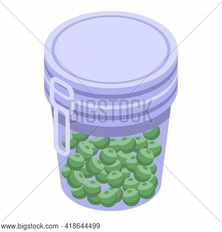 Pickled Peas Icon. Isometric Of Pickled Peas Vector Icon For Web Design Isolated On White Background