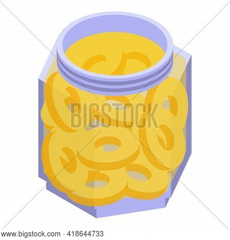 Pickled Pineapple Icon. Isometric Of Pickled Pineapple Vector Icon For Web Design Isolated On White