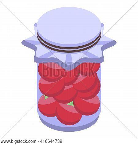 Pickled Garden Tomato Icon. Isometric Of Pickled Garden Tomato Vector Icon For Web Design Isolated O