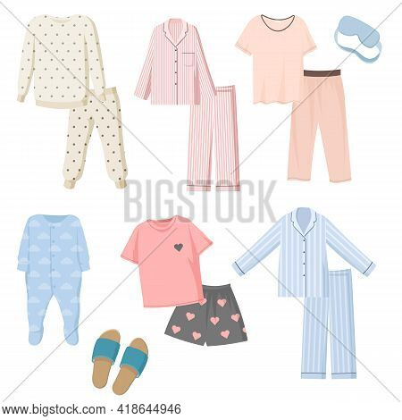 Cartoon Pajamas For Kids And Adults Vector Illustrations Set. Collection Of Pants And Shirts For Nig