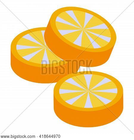 Christmas Candy Orange Slices Icon. Isometric Of Christmas Candy Orange Slices Vector Icon For Web D