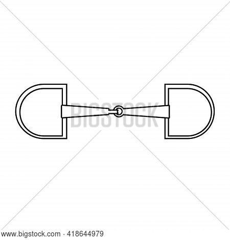 Vector Flat Horse Equestrian Bit Snaffle Isolated On White Background