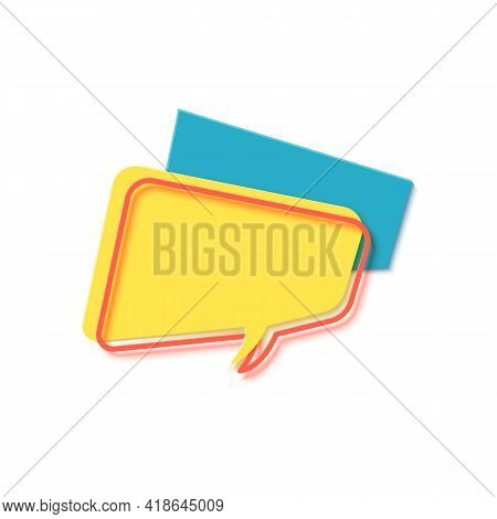 Yellow Speech Bubble In Paper Cut Art. Memphis Style Banner With Geometric Shapes. Colorful Sticker