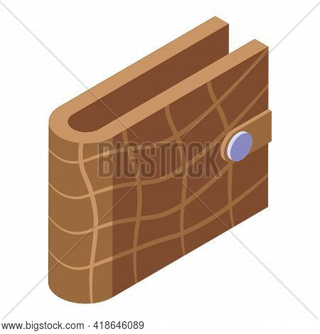 Crocodile Wallet Icon. Isometric Of Crocodile Wallet Vector Icon For Web Design Isolated On White Ba