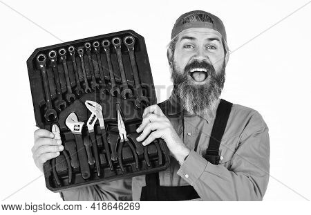 Worker Repairer Repairman Handyman Carrying Toolbox. Really Good Tools. Handyman Concept. Profession
