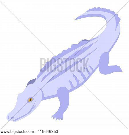 White Crocodile Icon. Isometric Of White Crocodile Vector Icon For Web Design Isolated On White Back