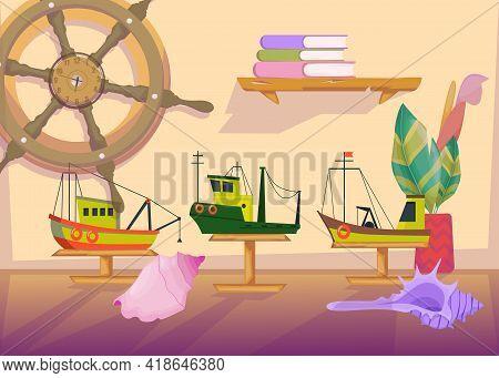 Cartoon Collection Of Ship Models And Navigation Symbols. Flat Vector Illustration. Three Trawler Mo
