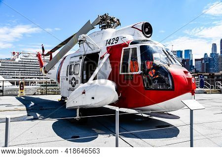 New York City, Usa - June 21, 2018: Naval Helicopter In Intrepid Museum In New York. The Uss Intrepi