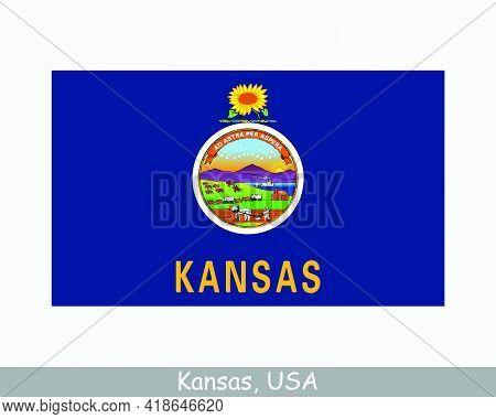 Kansas Usa State Flag. Flag Of Ks, Usa Isolated On White Background. United States, America, America