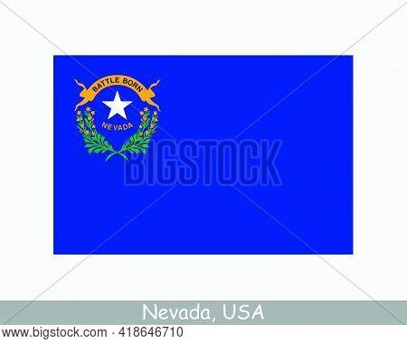 Nevada Usa State Flag. Flag Of Nv, Usa Isolated On White Background. United States, America, America