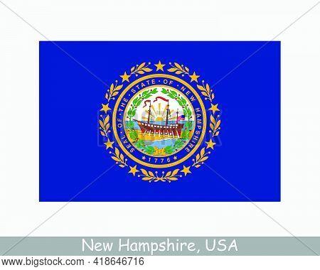New Hampshire Usa State Flag. Flag Of Nh, Usa Isolated On White Background. United States, America,