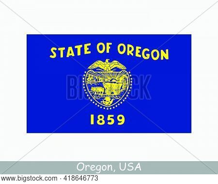 Oregon Usa State Flag. Flag Of Or, Usa Isolated On White Background. United States, America, America