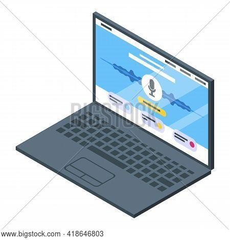 Laptop Speech Recognition Icon. Isometric Of Laptop Speech Recognition Vector Icon For Web Design Is