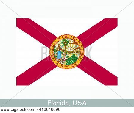 Florida Usa State Flag. Flag Of Fl, Usa Isolated On White Background. United States, America, Americ