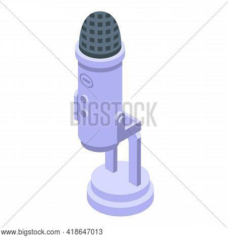 Studio Microphone Speech Recognition Icon. Isometric Of Studio Microphone Speech Recognition Vector
