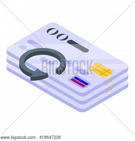 Purchase History Credit Cards Icon. Isometric Of Purchase History Credit Cards Vector Icon For Web D