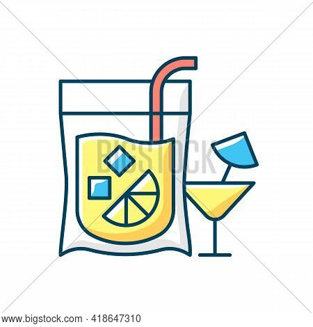 Cocktail To Go Rgb Color Icon. Alcoholic Beverage. Mixed Drink. Restaurant And Bar Delivery. Composi