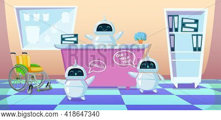 Cartoon Chatbots Working Instead Of People. Flat Vector Illustration. Modern Bots As Helper Or Assis