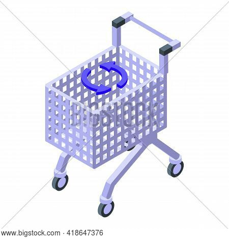 Purchase History Shop Cart Icon. Isometric Of Purchase History Shop Cart Vector Icon For Web Design