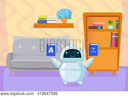 Cute Cartoon Chatbot Teaching Foreign Languages, Translating. Flat Vector Illustration. Friendly Bot