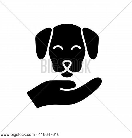 Pet Friendly Black Glyph Icon. Hotels Which Offer Range Of Amenities Designed To Accommodate Pet Own