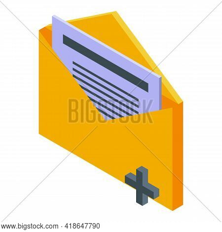 Add Message Icon. Isometric Of Add Message Vector Icon For Web Design Isolated On White Background