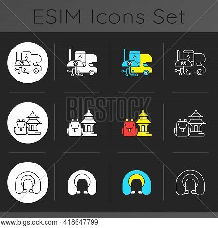 Nomadic Trip Dark Theme Icons Set. Rv Electronics. Spiritual Nomads. Rv Electronics. Devices And Gad