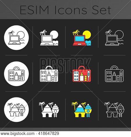 Nomadic Lifestyle Dark Theme Icons Set. Digital Nomad. Tropical Resort. First Aid Kit. Tourists Road